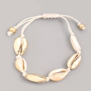 NEW! Gold Seashell Adjustable Rope Bracelet
